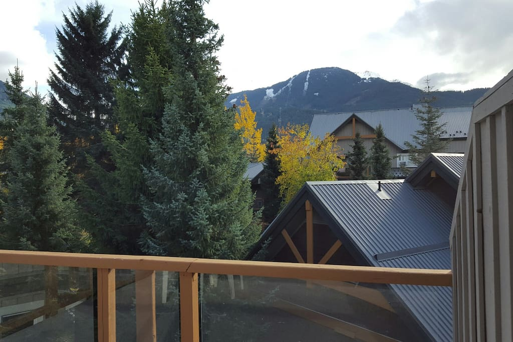 Views of Whistler Mountain from the deck and bedroom.