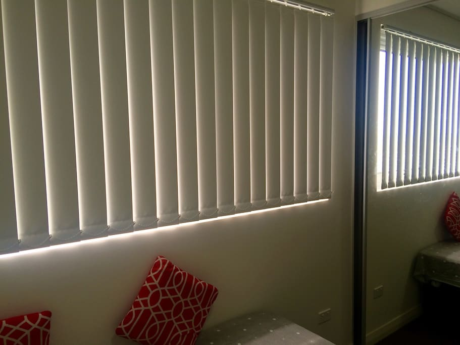 Blinds, if opened lights up the whole room with sunlight