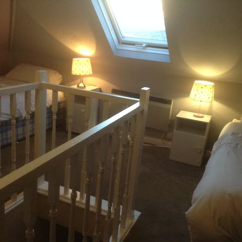 Light twin bed loft room with views; easy parking. - Brighton - Huis