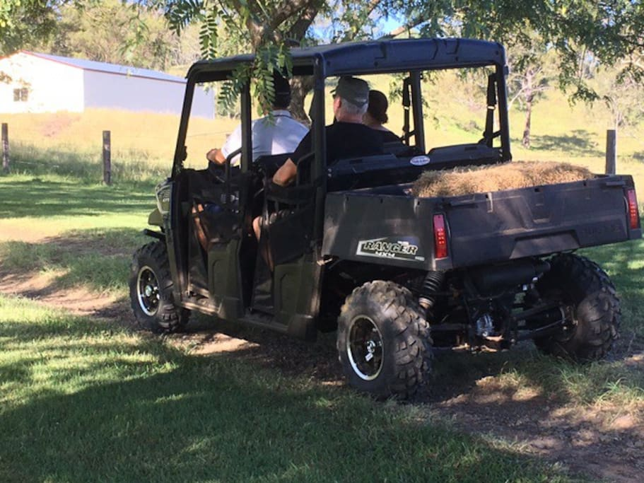 Tour the property in the all-terrain vehicle.