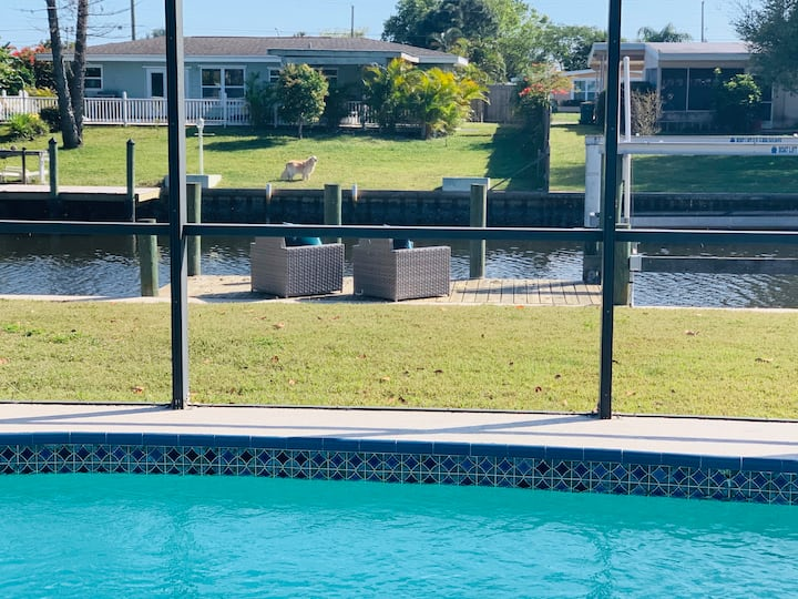 Waterfront home with heated, saltwater pool