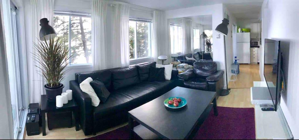 Inside living area Short pano shot of the living area with a view on the kitchen.