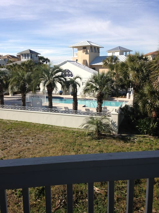 Community pool with unobstructed view from our porch so you can see your family swimming.