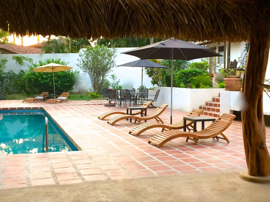 Pool & Patio Area looking out from under Fiji Palapa