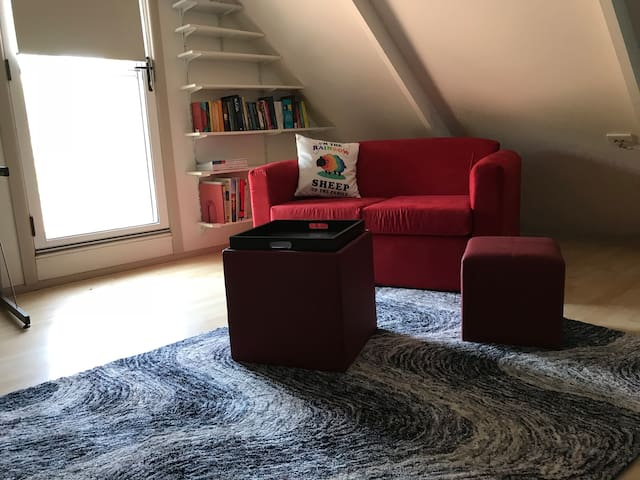 Seating area of the attic room.