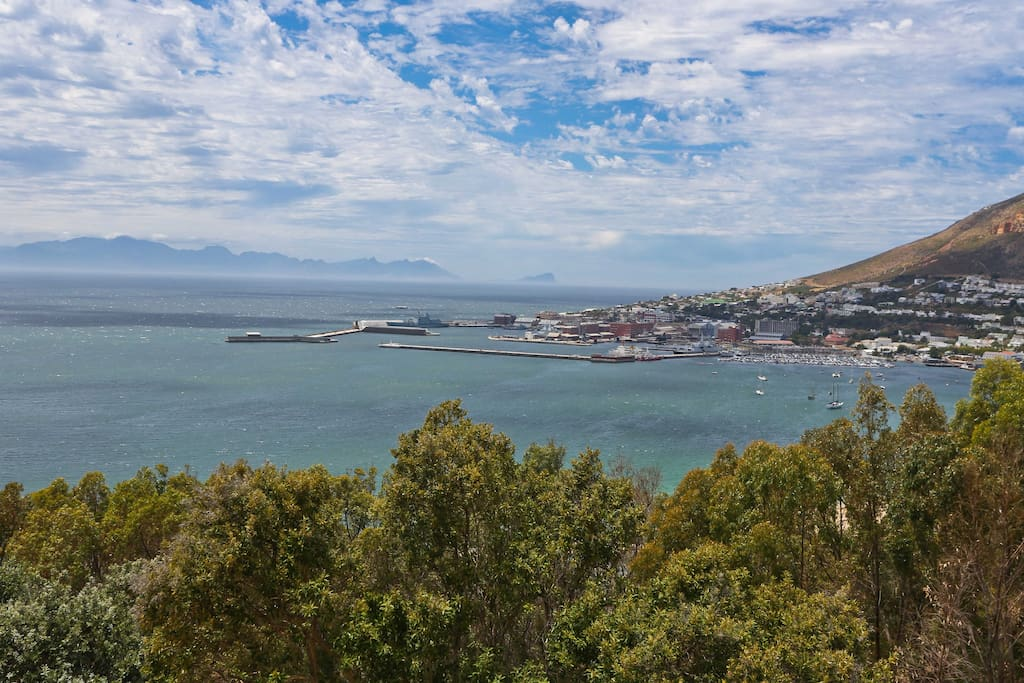 Views of Simonstown harbour and False Bay from upstairs bedrooms
