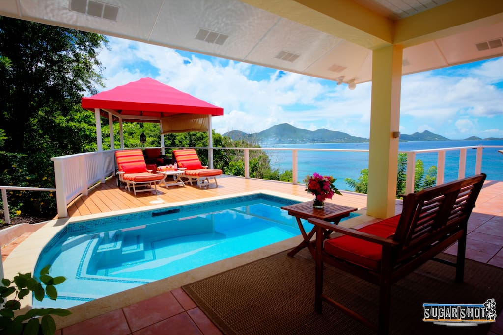 Covered pagoda and pool deck with glorious views of Hillsborough and deserted islands