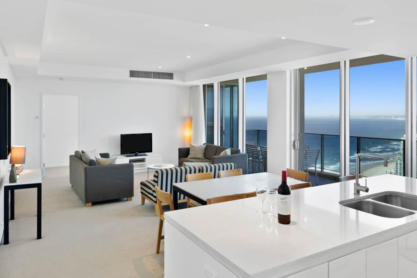 H Residences apartment, living and dining area with stunning views!