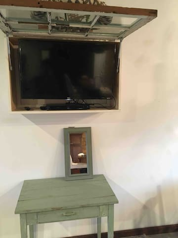 TV with antenna and DVD player