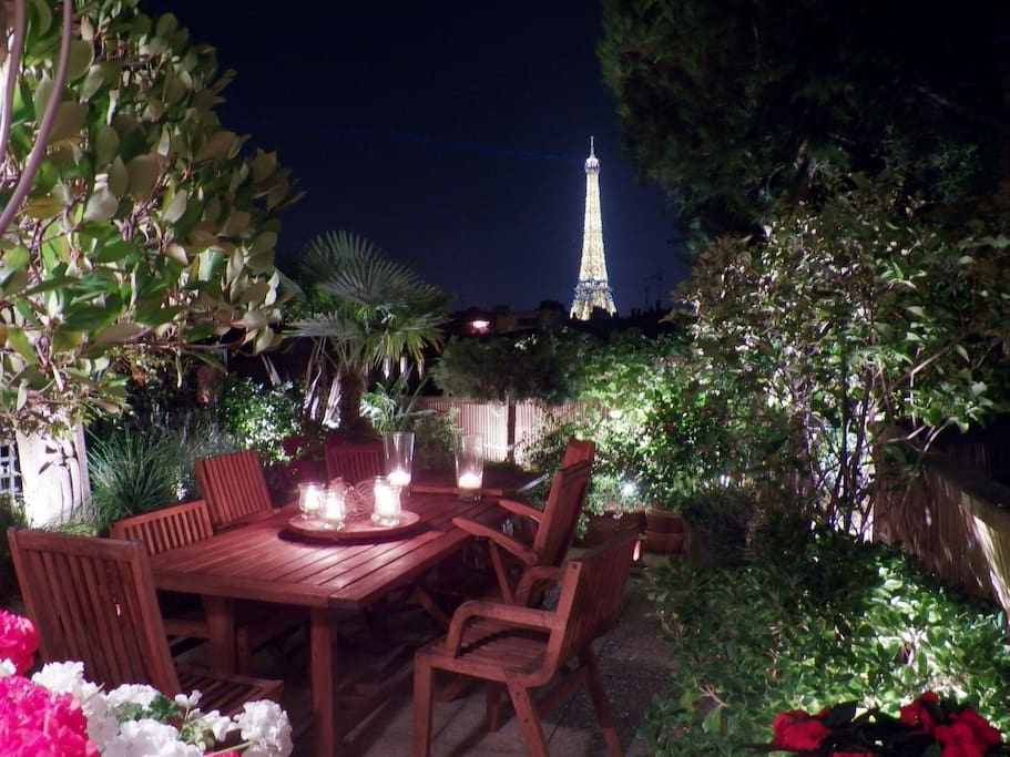 Terrace at night.