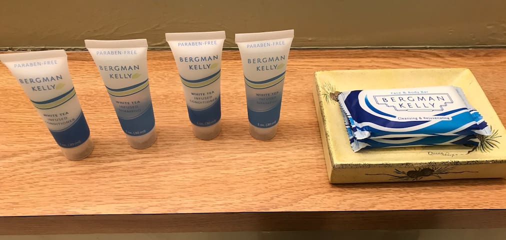 Personal Sized Shampoo, Conditioner & Hand Soap Provided