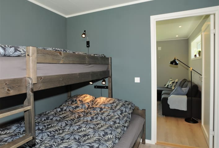 Bedroom #1 - double bed 150cm width, bunk bed 90cm width. Clothes cabinet on the room.