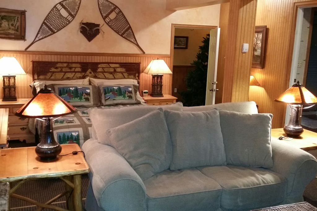 Cozy, romantic seating area, this area is elevated up from the bedroom area