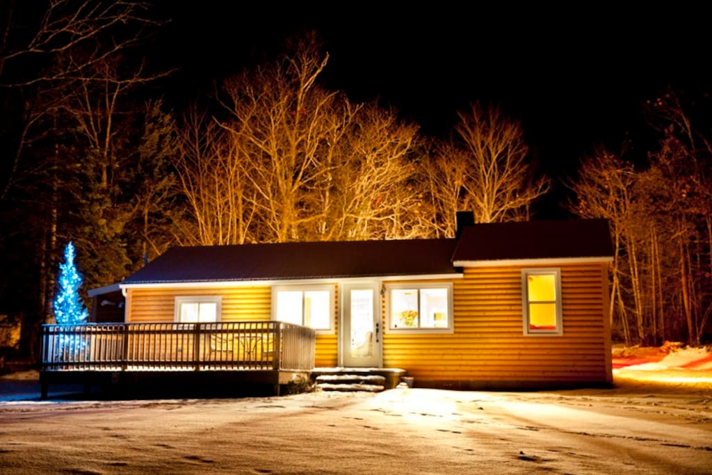 A warm cabin awaits your arrival during the winter.