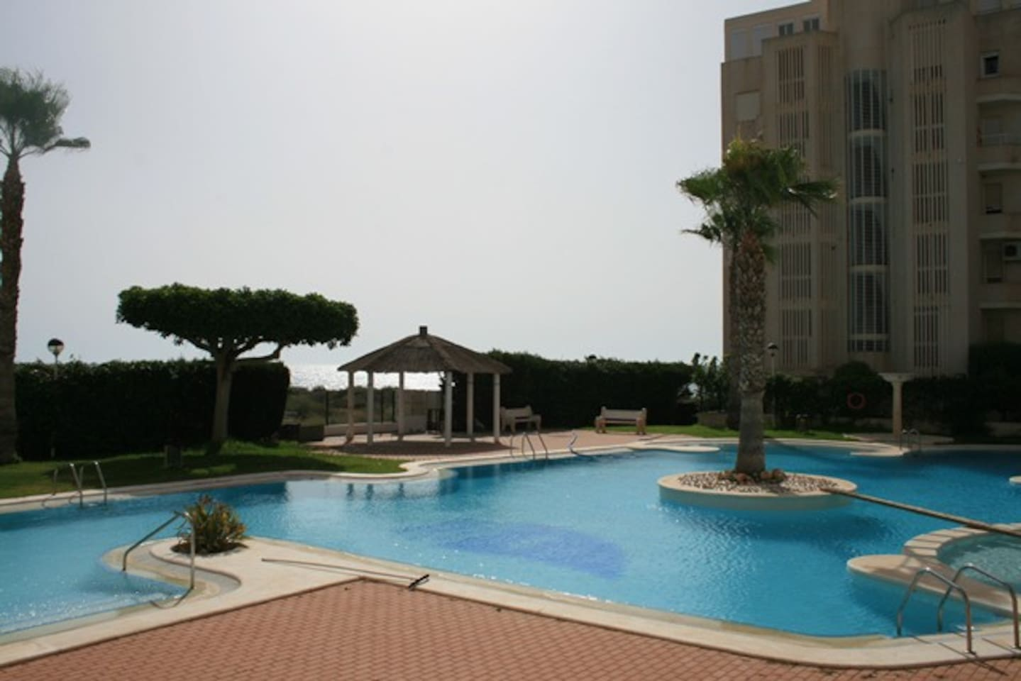 Communal swimming pool with sea view