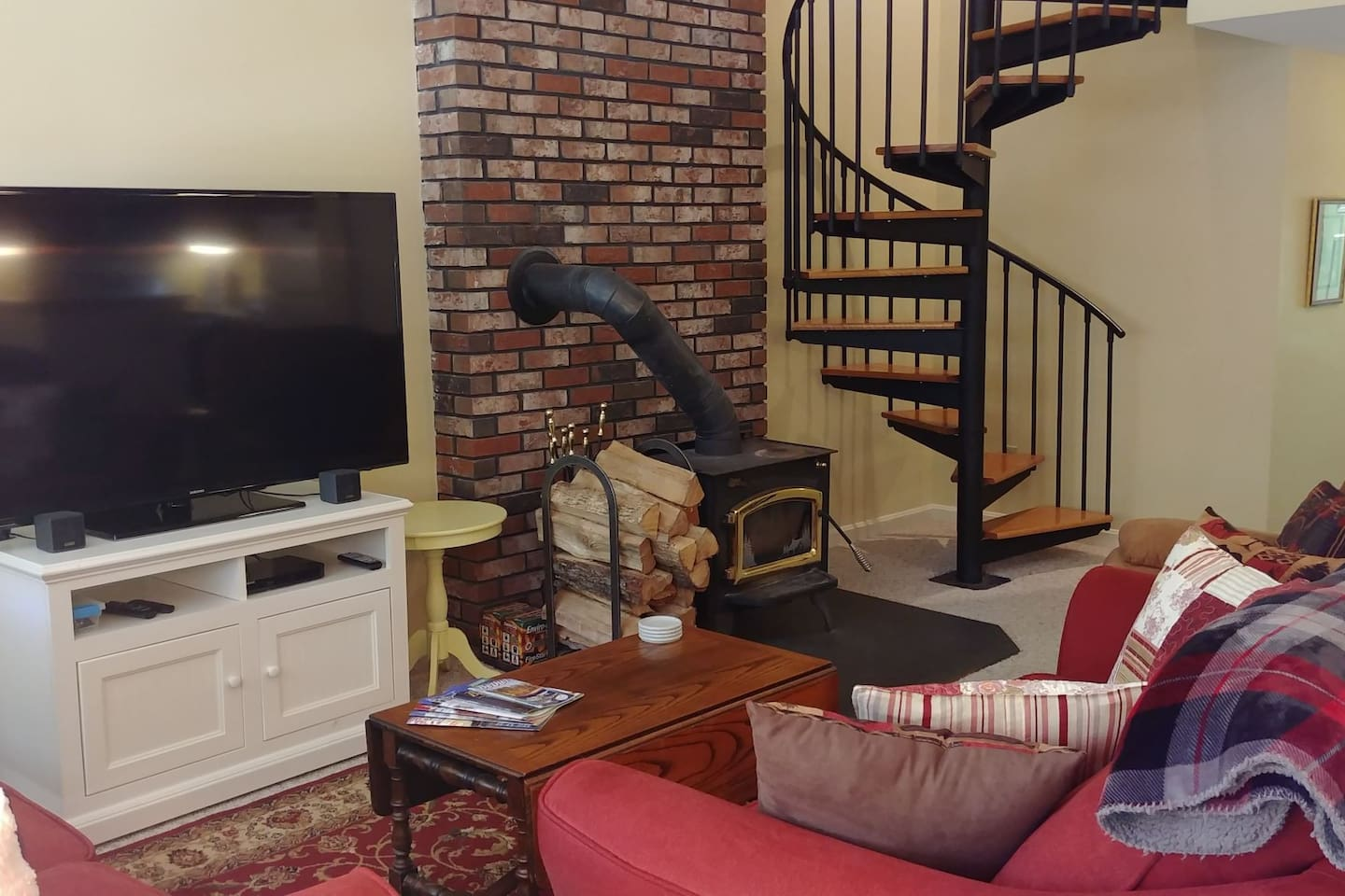 Wood stove and spiral staircase