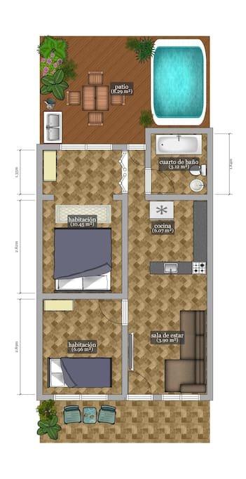 I'm not an arquitect but I found an app to design how the apartment distribution looks like, the sizes of the different areas are exactly as they really are. Some of the stuffs in this picture are not accurate, so it's  better explained as you see in the real pictures (for example; in the bathroom there is not hot tube but the app didn't give the the option for putting a shower). But basically everything is located as you can see in this distribution. I hope it helps you to understand, in a better way, the different areas that the apartment offers you...> 1 square meter = 10,76 square feets.  This is an apartment of 49,2 m2 (530 square feets) counting the backside private terrace.