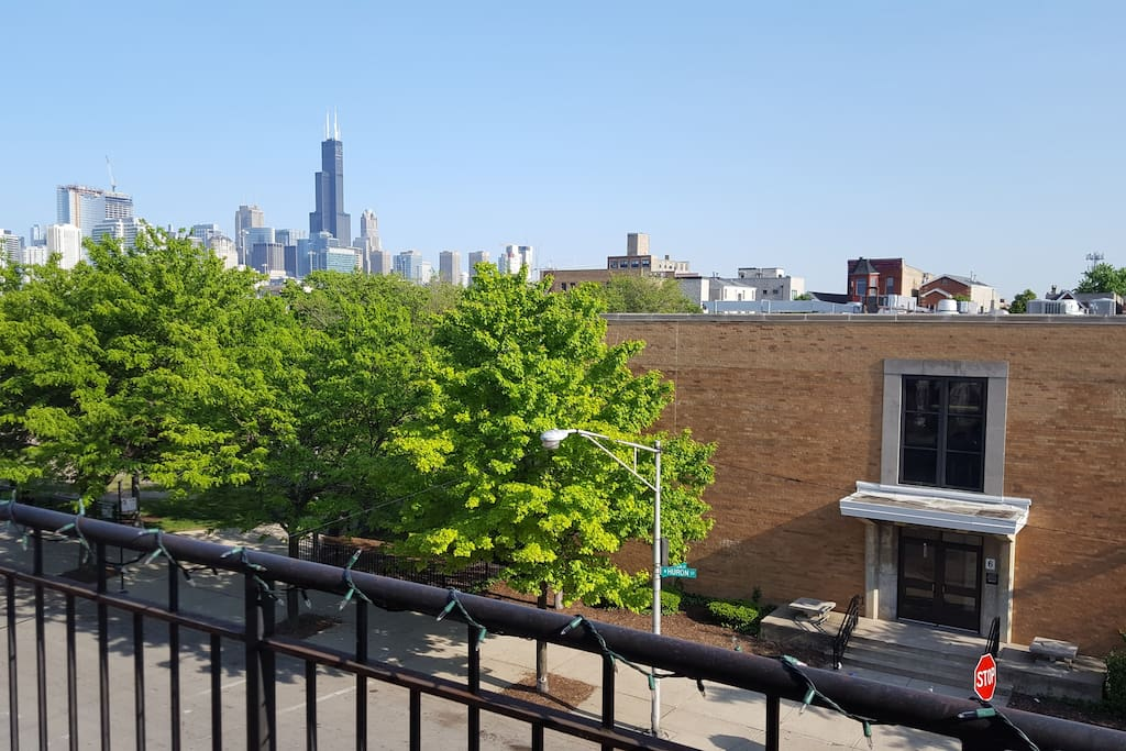 Skyline view with trees and the Willis Tower.