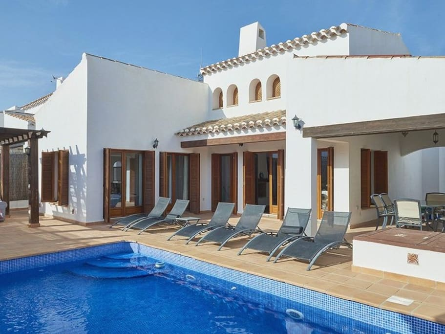 Lovely private outdoor heated swimming pool for the family to relax