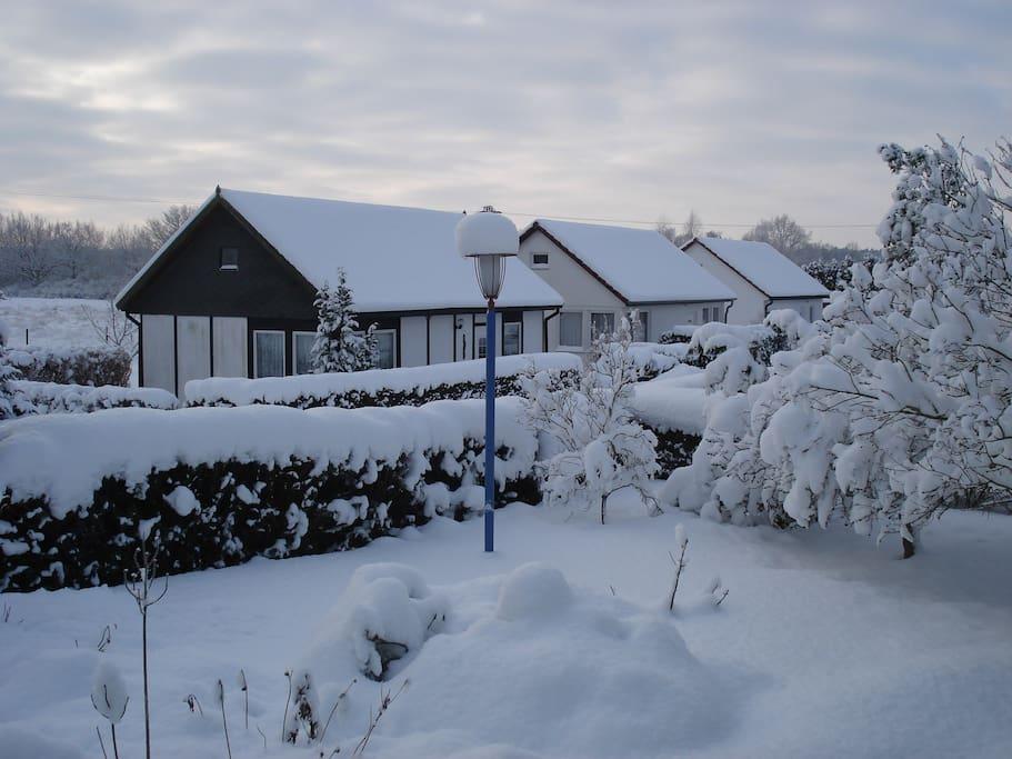 Bungalowanlage im Winter