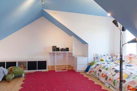 A comfortable converted attic