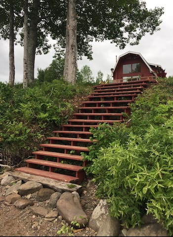 Newly constructed stairs to access the lake