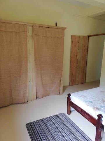 Bedroom 2. Barlap fabric closet door