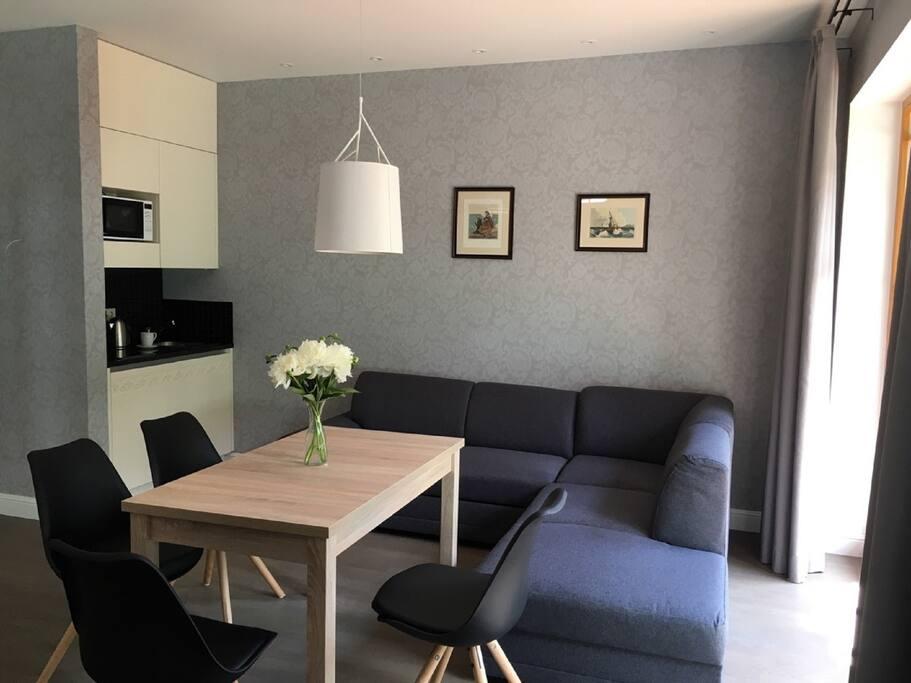 Living area, Kitchenette