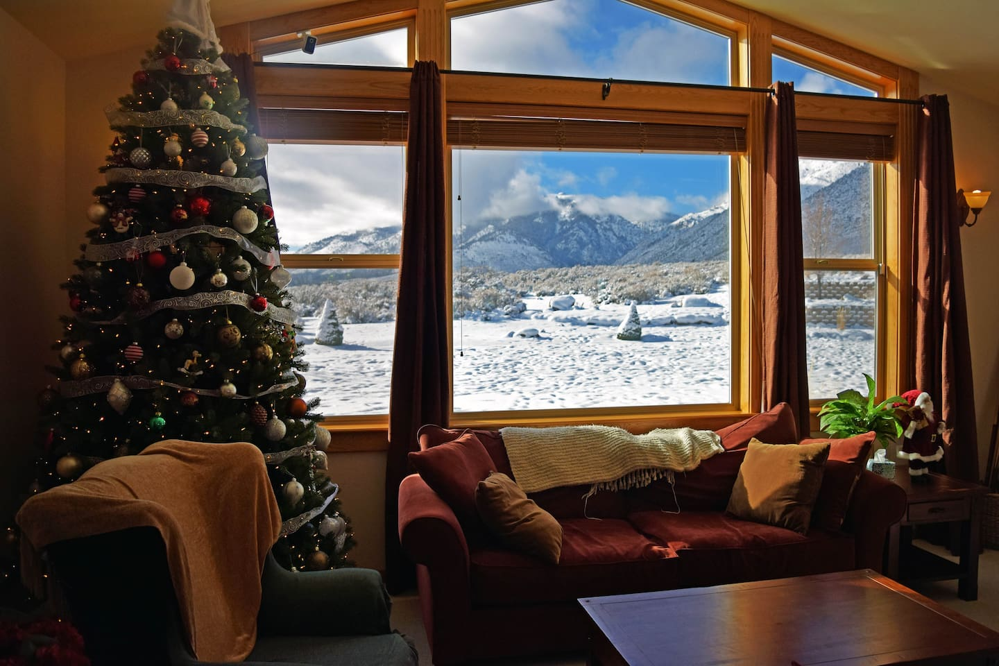 Great room at Christmas with views toward the Sierra
