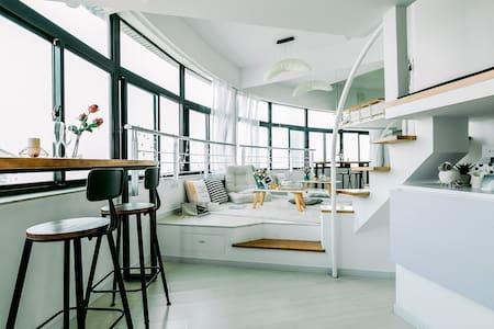 180°北外滩江景loft,100寸超大屏幕投影观影loft - Shanghai - Wohnung