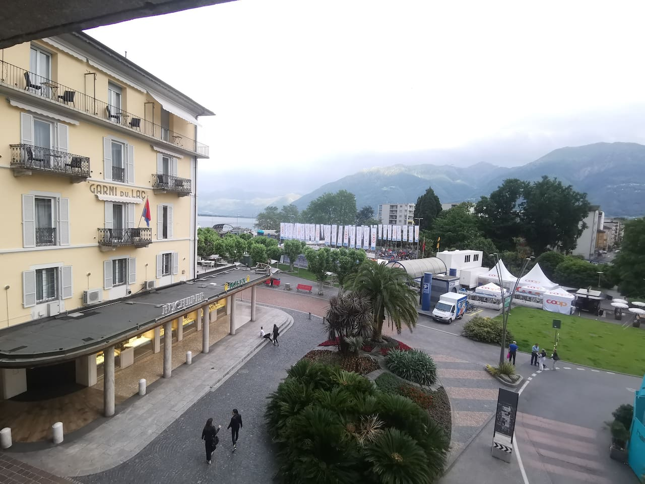 """View from the window at the Via Ramogna and the park """"del Toro""""."""