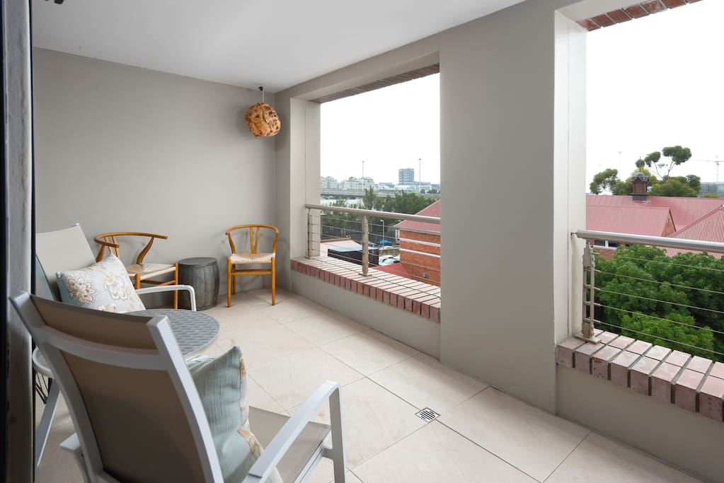Huge entertaining balcony, Eastern exposure, full morning sun, quiet side of the building