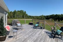 16'x34' deck overlooking the land and river - showing bbq