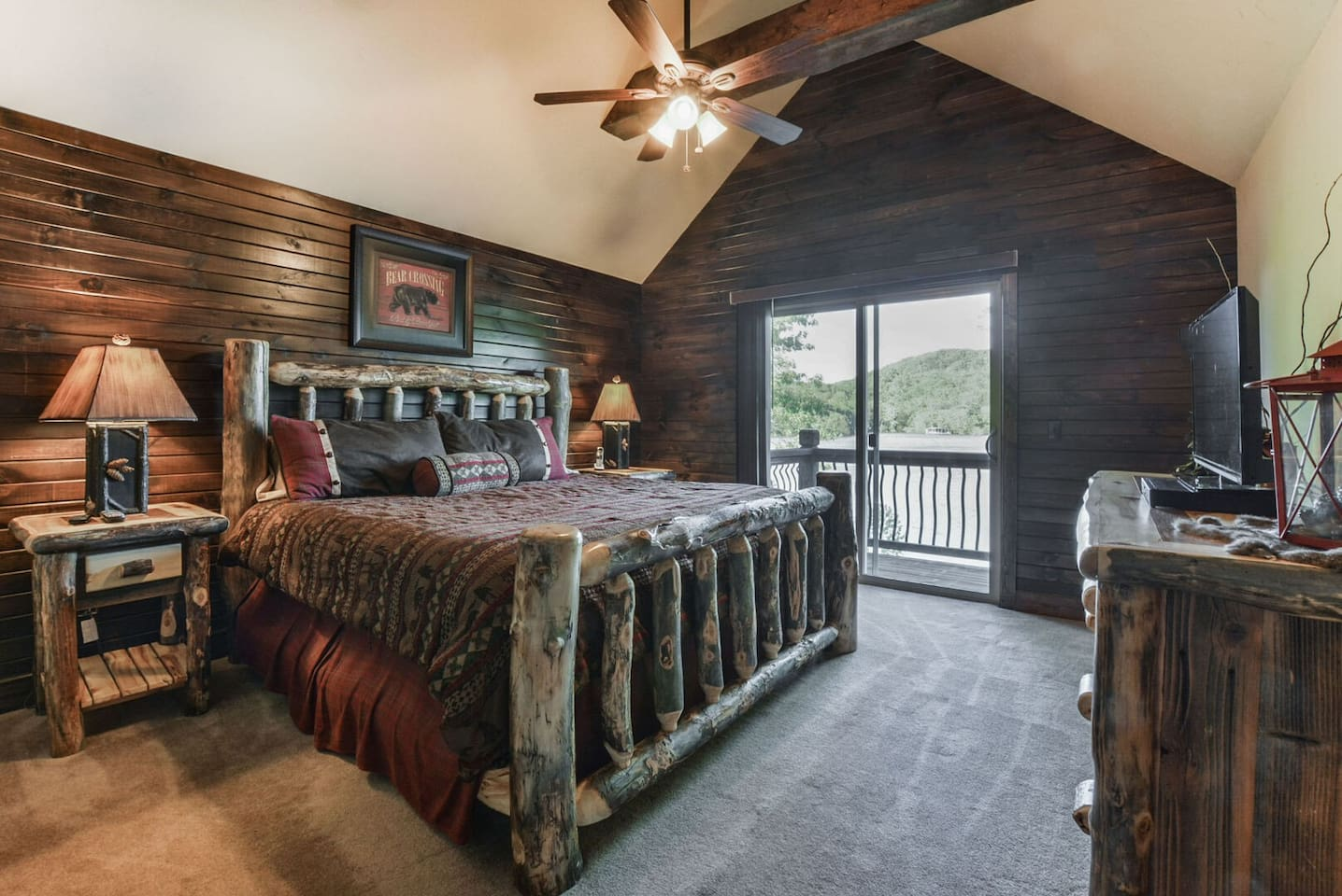Master Bedroom. This one overlooks the lake. Solid Aspen bed and furniture