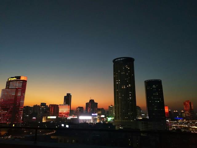夕阳的夜景