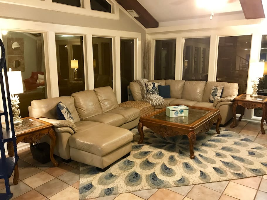 New oversized pecan coffee table and end tables in living room.