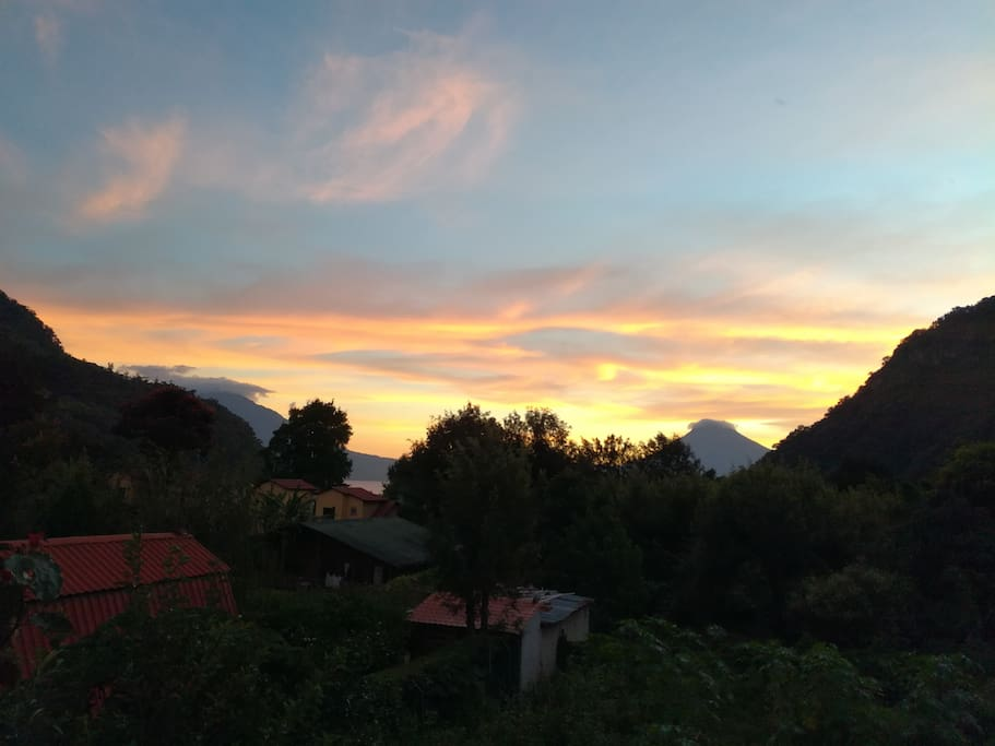 Sunset. View from your balcony. 2 volcanoes.
