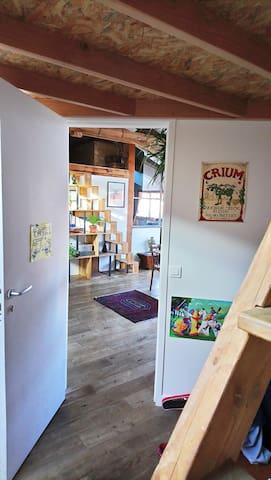 kid's bedroom and mezzanine above