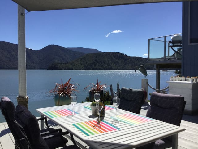 Looking out to the Pelorus Sound from the deck.