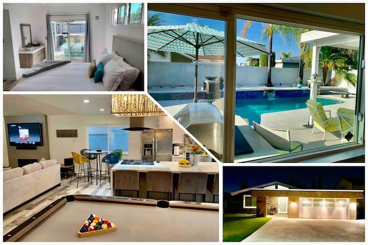 Orange County heated pool, billiards, & workshop