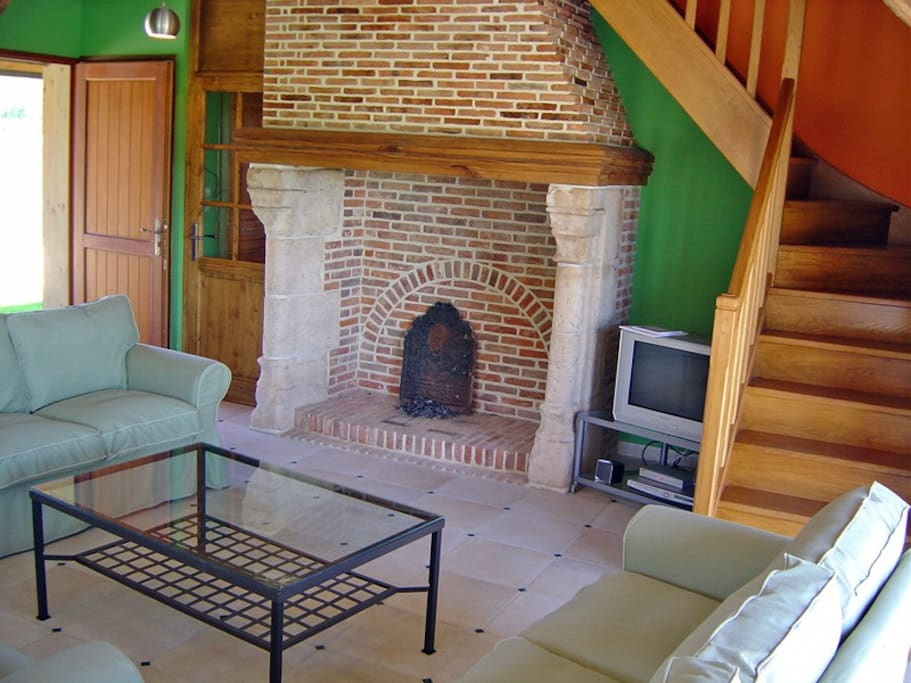 cion salon avec cheminée