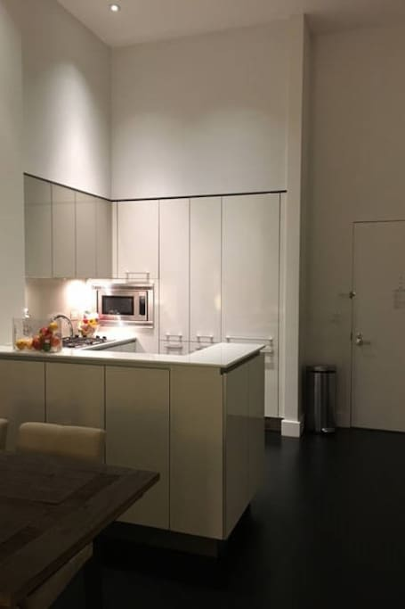 Kitchen with all main appliances. Washer dryer in side closet