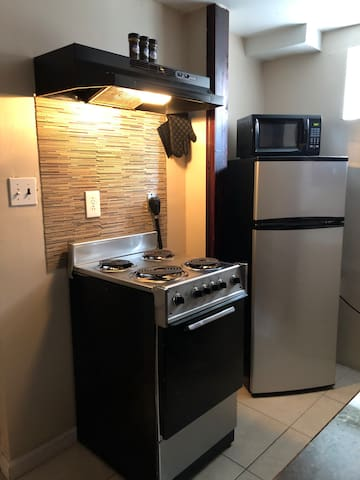 Kitchen (Electric Stove, Fridge, Microwave & Seasoning for your taste)