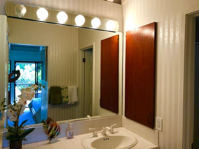 Master bathroom, with bathtub and shower.