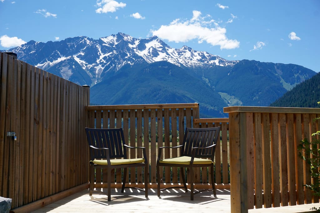 Stunning views from your very own private deck.  Enjoy a barbecue, an outdoor meal, or simply relax and watch the starry night sky.