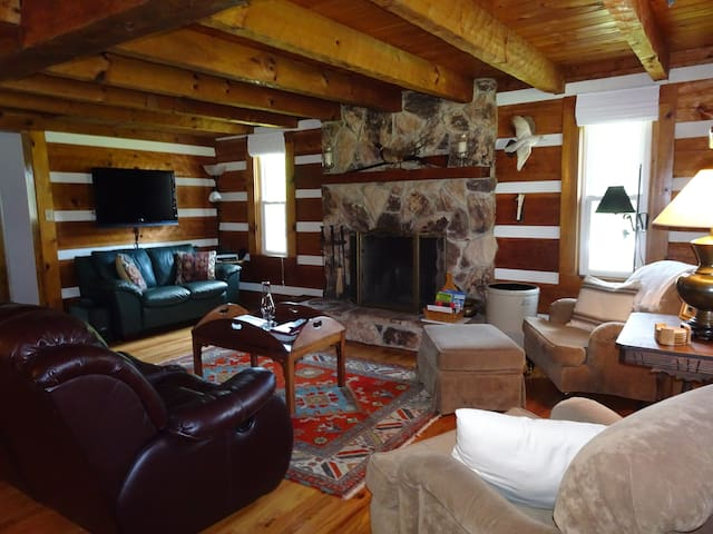 Large stone fireplace, firewood provided Oct. - April