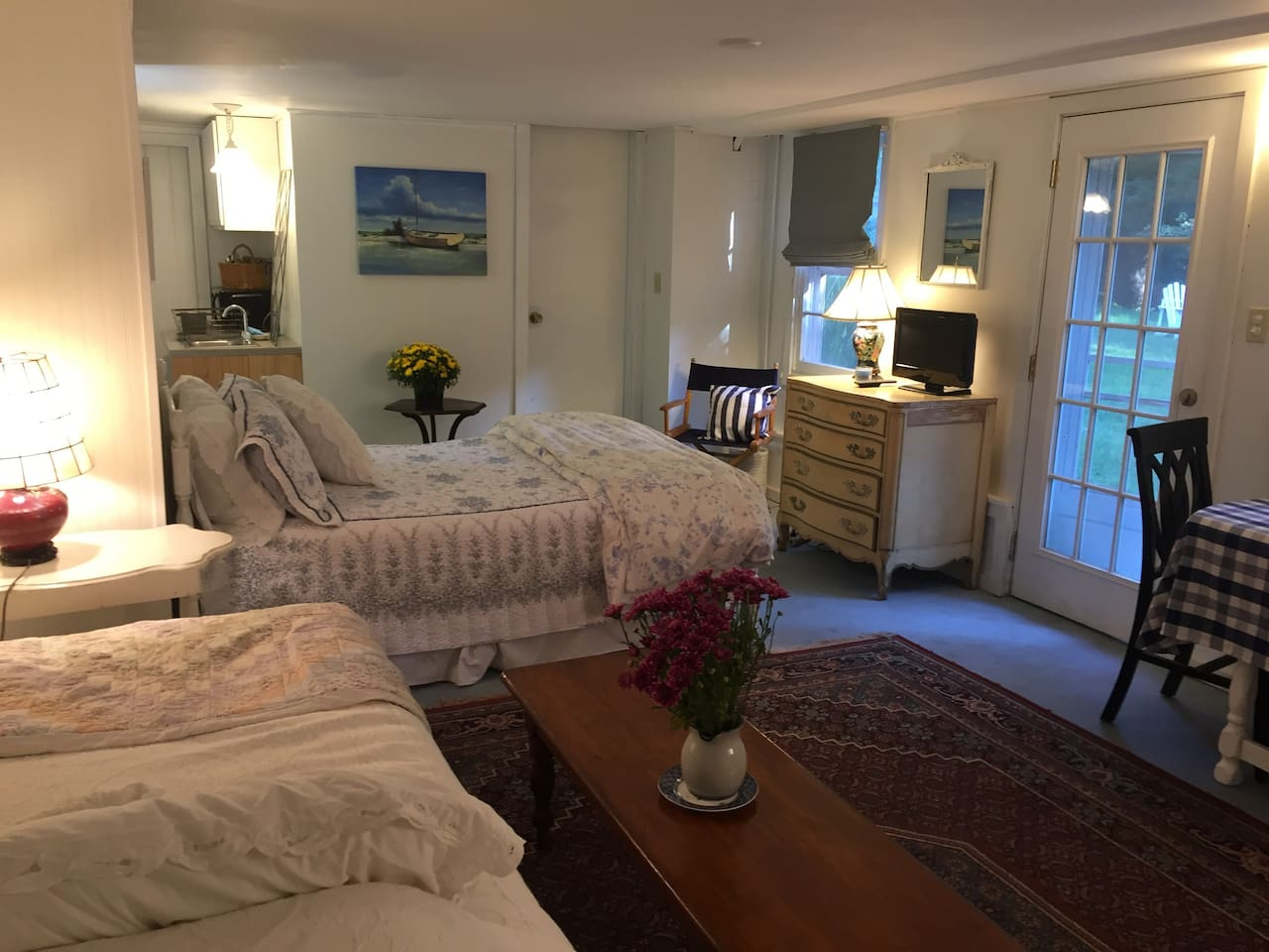 Comfortable space with  one full size bed and a trundle bed with 2 twins. There is also a small kitchenette with a refrigerator, sink, microwave and coffee maker.