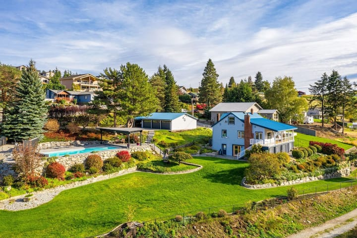 Lake Chelan Farmhouse with stunning lake view, private pool, hot tub and lawn!