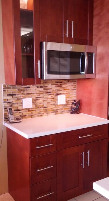Kitchen alcove with microwave