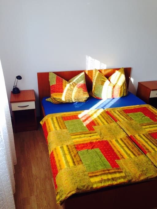 Bed for 2 persons + if needed bed for 1 person in one apartment!